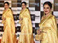 rekha gold kanjeevaram saree at chhapaak premiere
