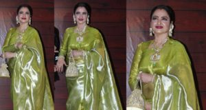 rekha in green tissue kanjeevaram saree at javed akhtar birthday party