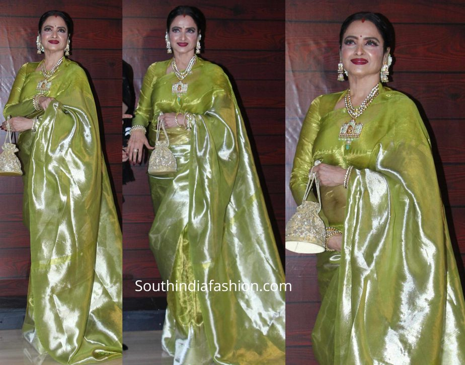 rekha in green tissue kanjeevaram saree at javed akhtar birthday party