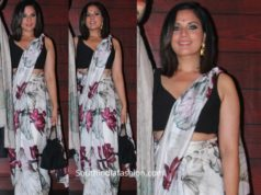 richa chaddha in floral saree at javed akhtar birthday party