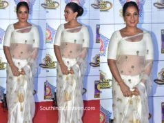 richa chaddha in raw mango saree at umang 2020