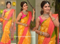 sai dhanshika in yellow silk saree for pongal