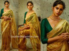 sai tamhankar in gold tissue saree with green blouse