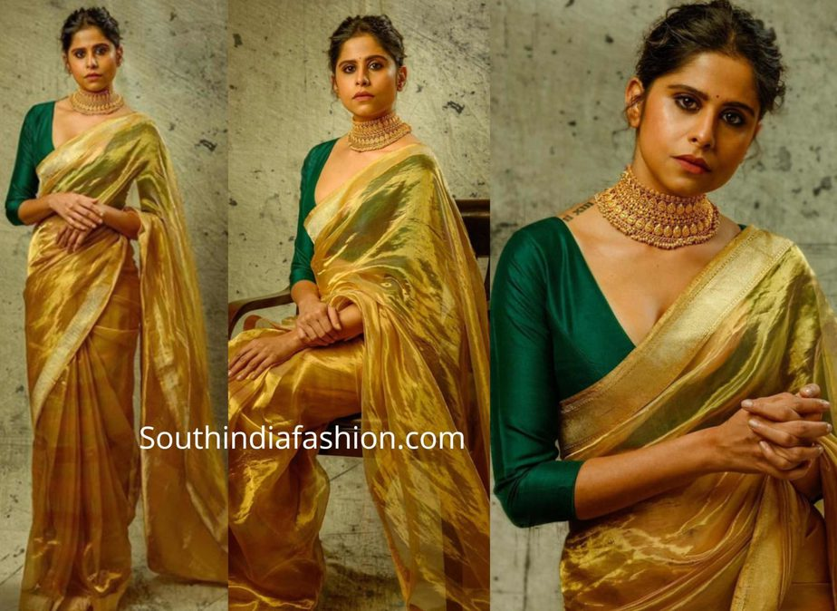 sai tamhankar in gold tissue saree with green blouse