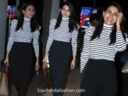 samantha akkineni airport look black pants and striped top