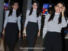 samantha akkineni airport look black pants and striped top