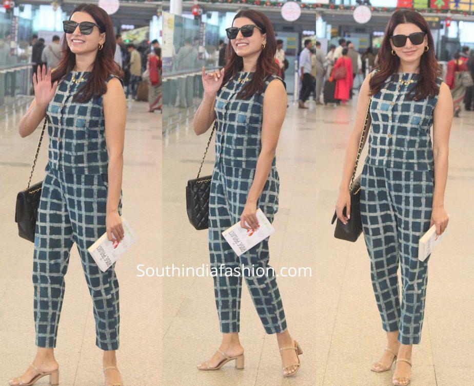 samantha akkineni airport look printed pants and top