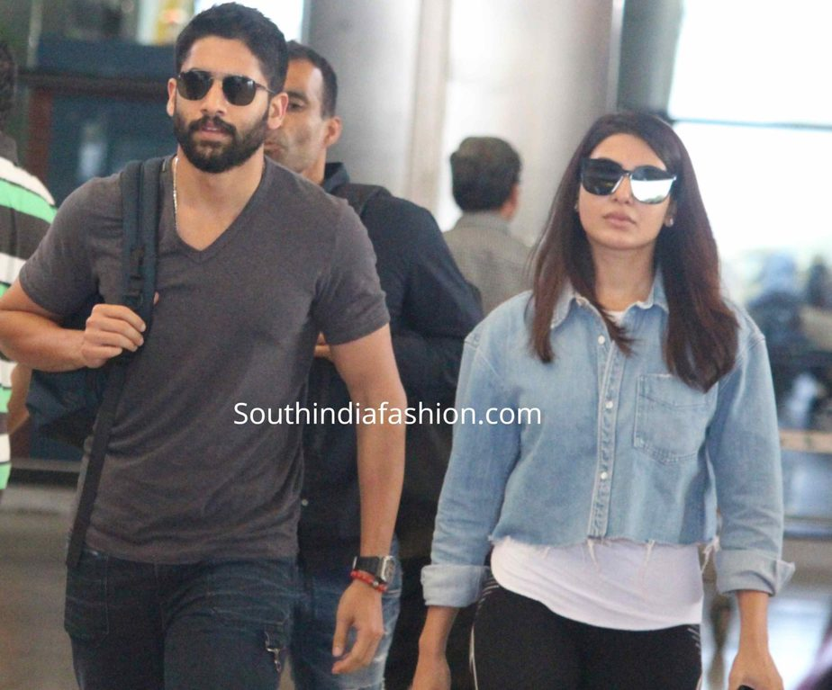 samantha akkineni and naga chaitanya at airport (1)