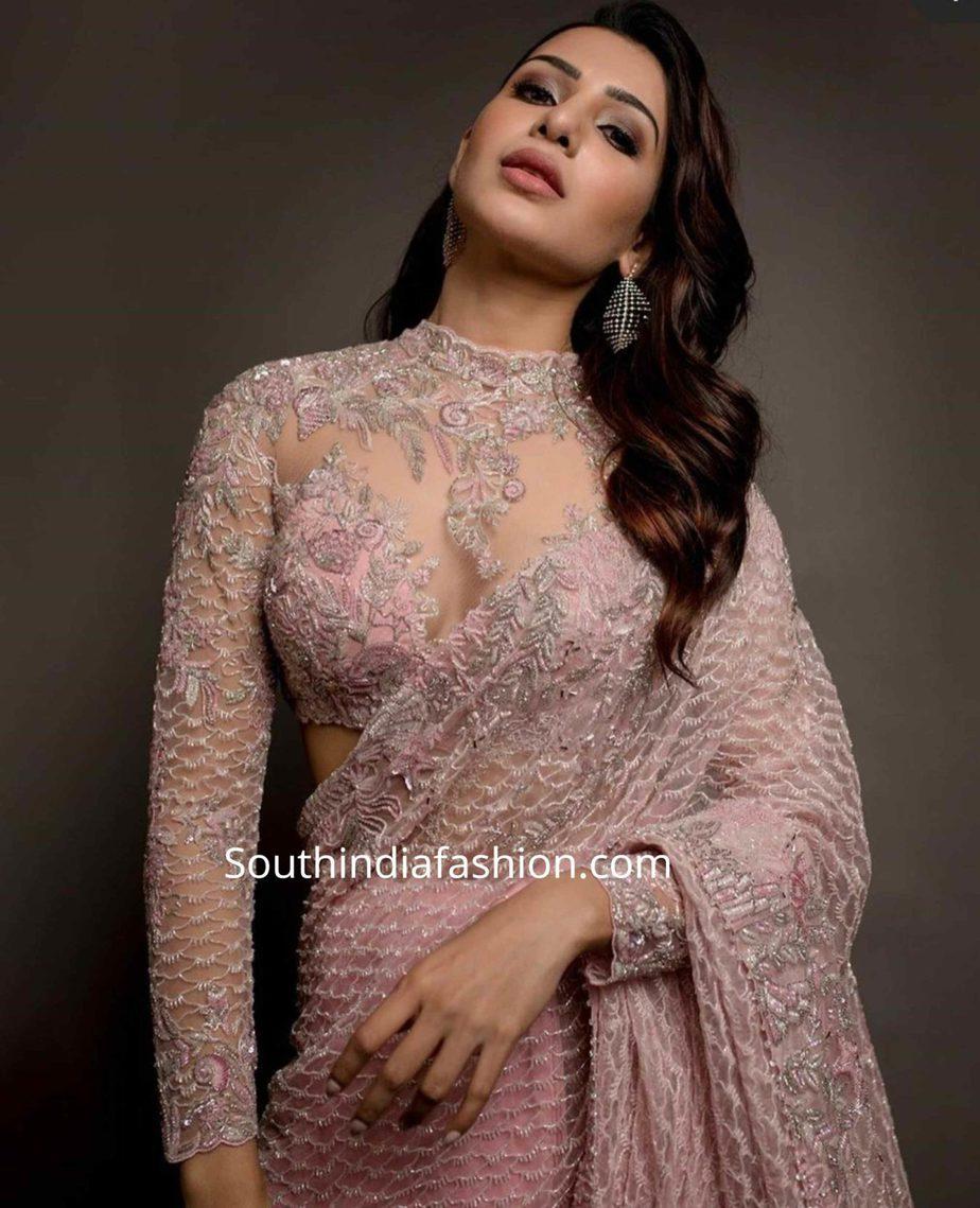 samantha akkineni pink saree at zee cine awards tamil 2020 (1)