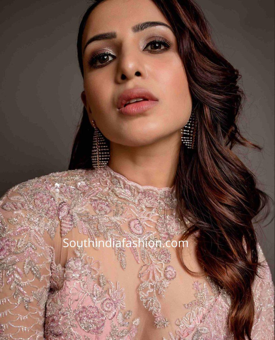 samantha akkineni pink saree at zee cine awards tamil 2020 (2)