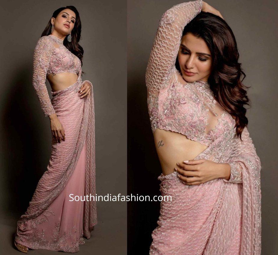 samantha akkineni pink saree at zee cine awards tamil 2020