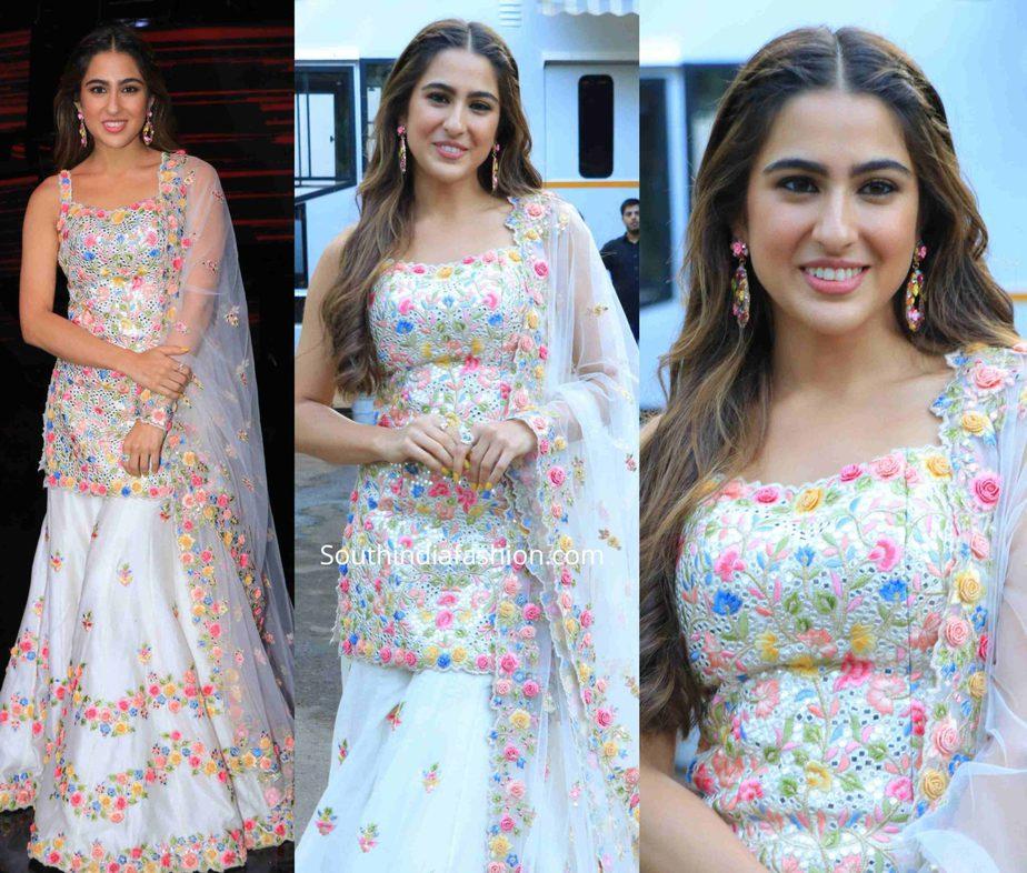 sara ali khan in white sharara on indian idol sets