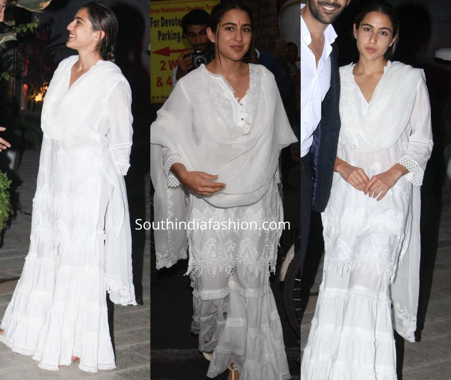 sara ali khan in white sharara suit