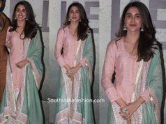 sharvari in pink and mint green sharara suit