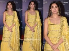 sharvari in yellow kurta lehenga at forgotten army promotions