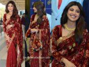 shilpa shetty in maroon velvet saree (2)