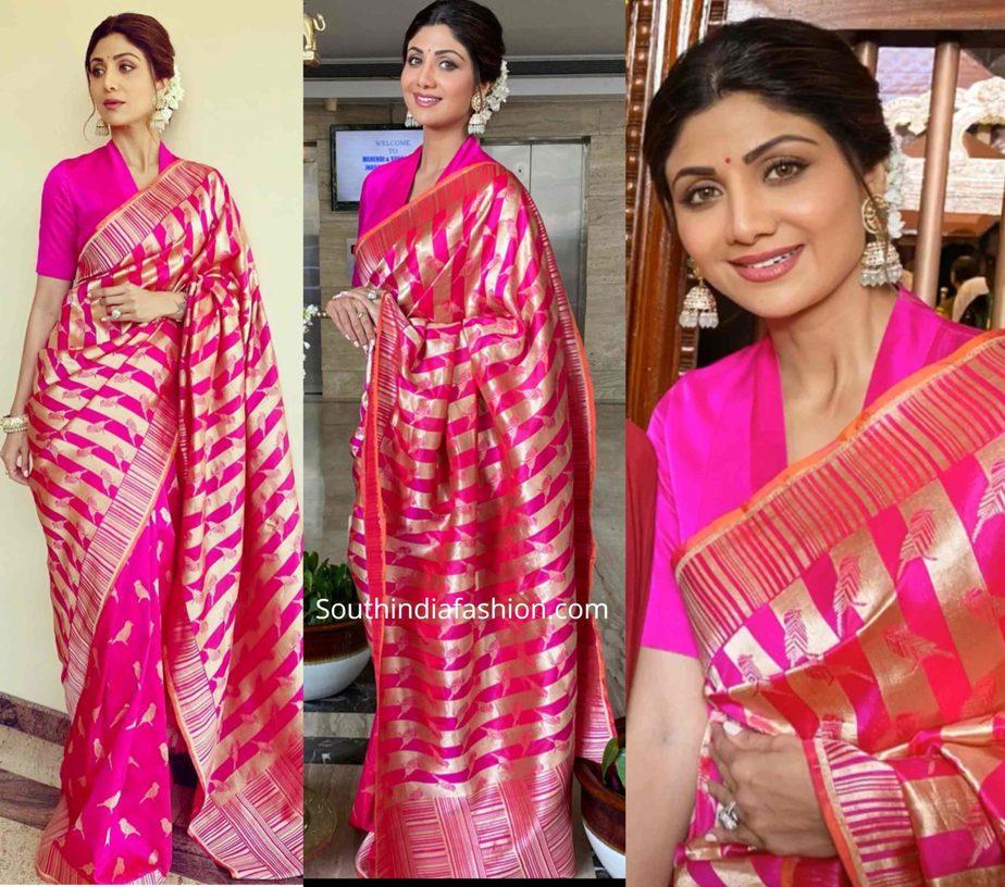 shilpa shetty in pink banarasi silk saree