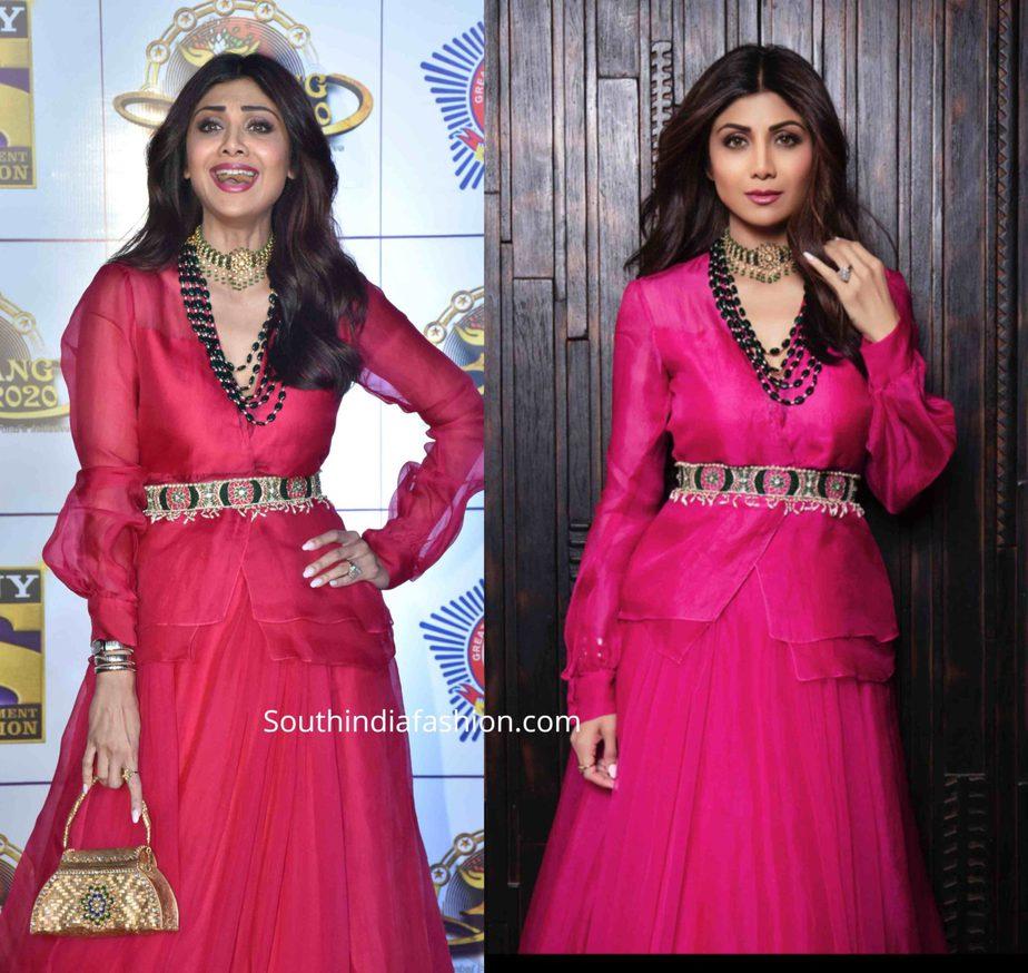 shilpa shetty in pink lehenga at umang 2020 (2)