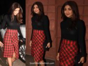 shilpa shetty in red skirt and black top
