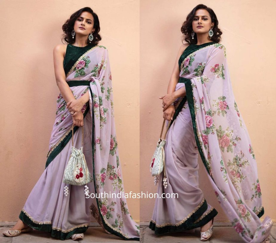 shraddha srinath in lilac floral saree with green velvet blouse (1)