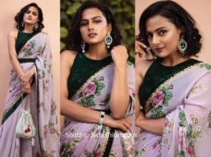 shraddha srinath in lilac floral saree with green velvet blouse (3)