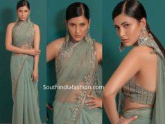 shruti haasan in green saree at zee cine awards tamil 2020