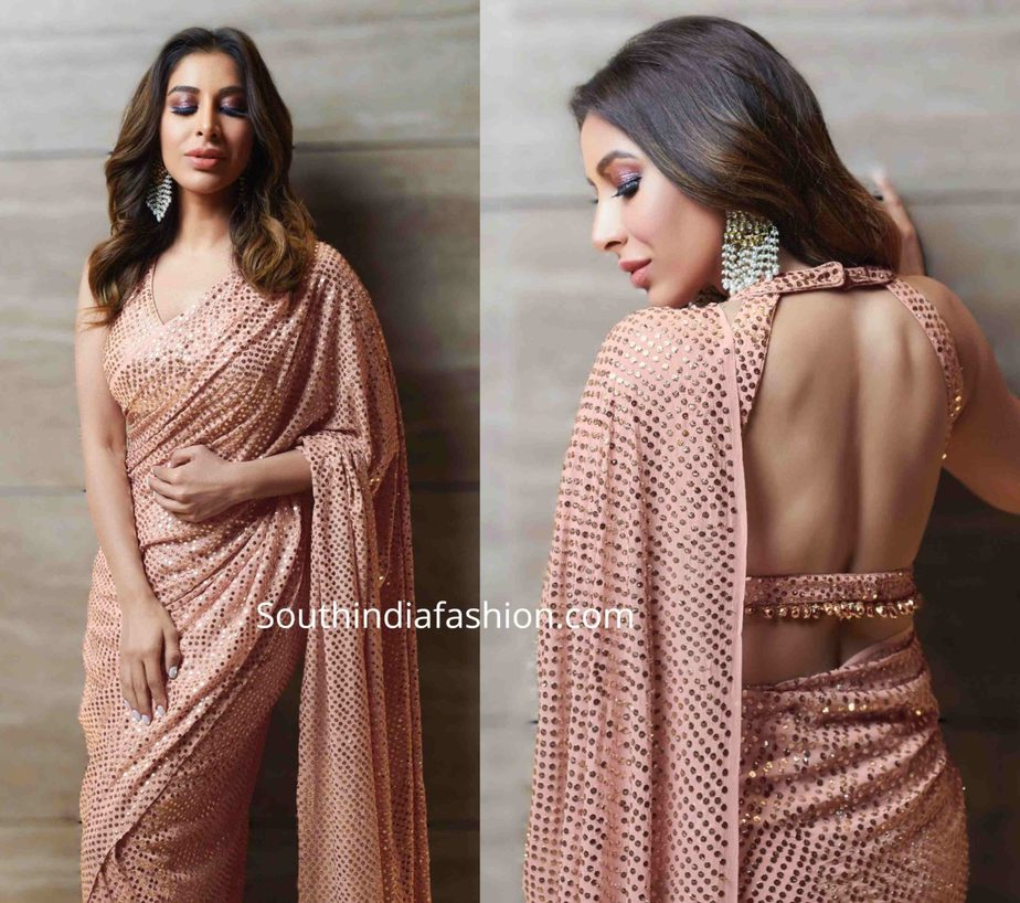 sophie choudry in badla work sequin saree at umang 2020 (2)