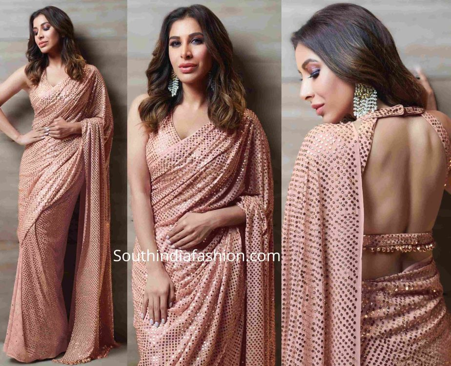 sophie choudry in badla work sequin saree at umang 2020