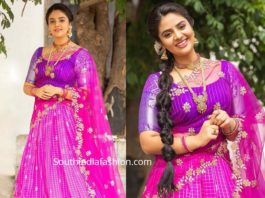 sreemukhi in pink pattu half saree
