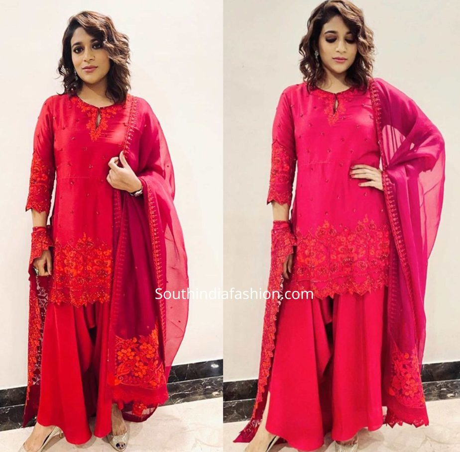 sushmita konidela in red sharara by anushree reddy at zee cine awards 2020
