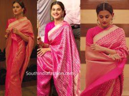 taapsee pannu in pink silk saree at ananda vikatan awards