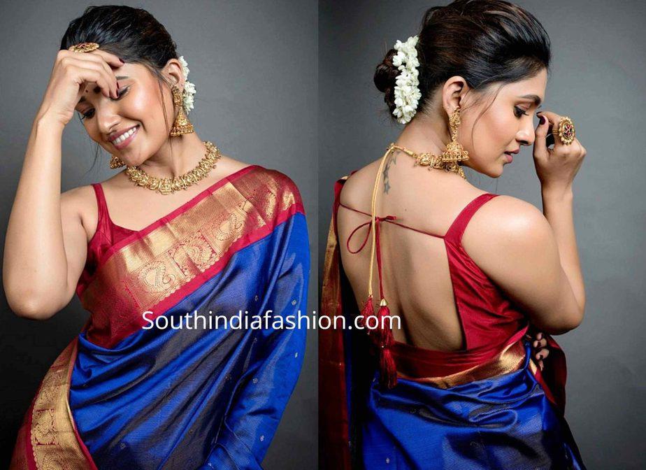 vani bhojan blue silk saree (2)