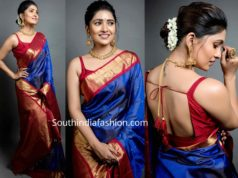vani bhojan blue silk saree