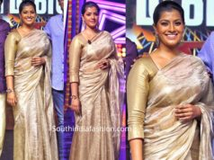 varu sarathkumar gold tissue saree colors kodeeswarudu