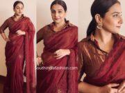vidya balan in maroon saree with collar neck blouse