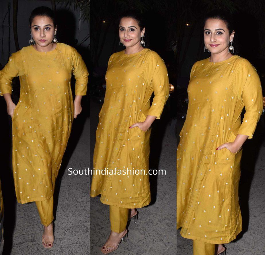 vidya balan in mustard yellow kurta set