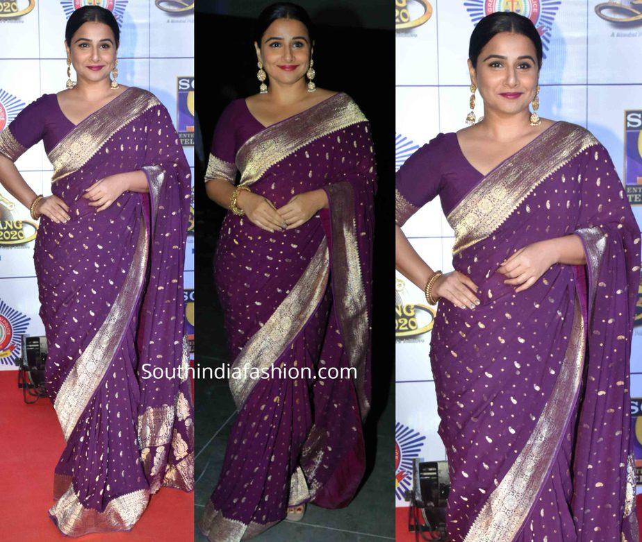 vidya balan purple saree at umang 2020