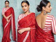 vidya balan red saree with striped blouse