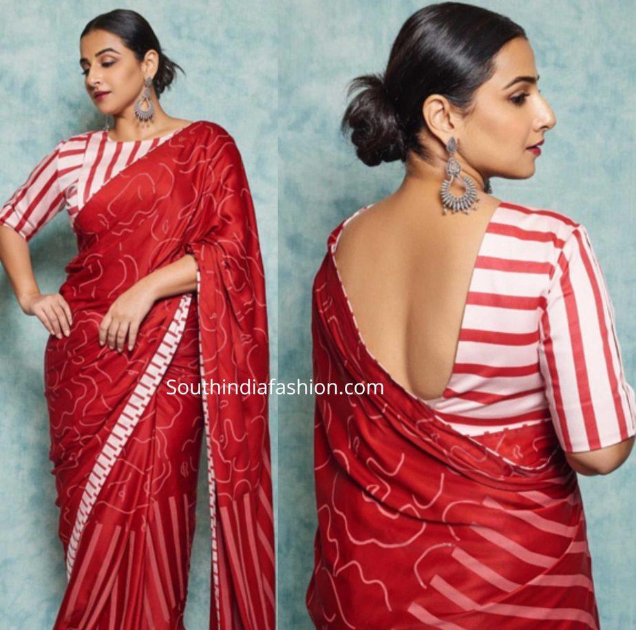 vidya balan red saree with striped blouse (2)