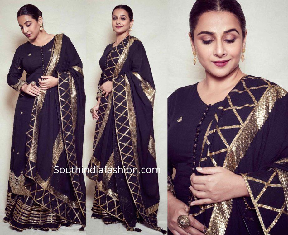 vidya blana in black sharara suit by sukriti aakriti