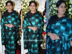 vijayashanti blue black checks saree