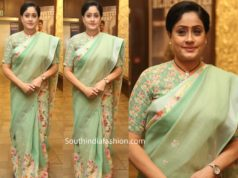 vijayashanti in sea green saree at sarileru neekevvaru thanks meet