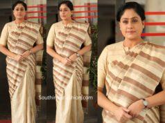 vijayashanti in striped jute saree