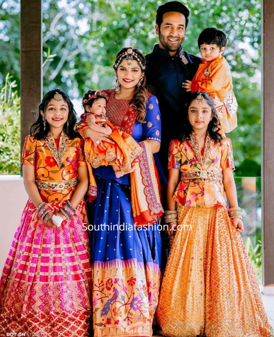 viranica manchu and her daughters in pattu lehengas