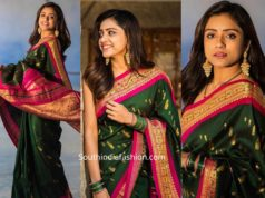 vithika sheru in green banarasi silk saree