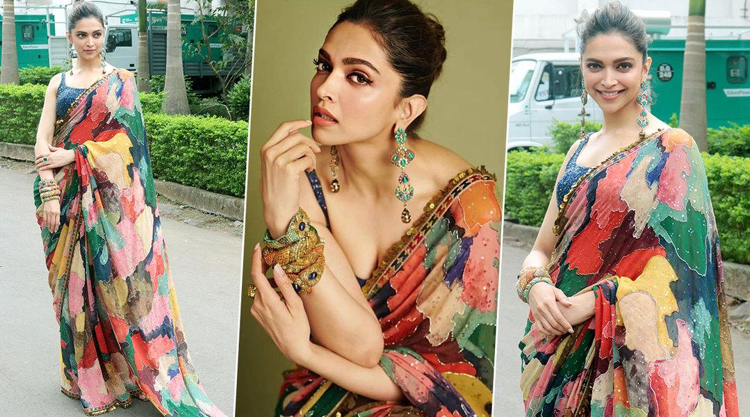 Deepika in Sabyasachi multicolored saree