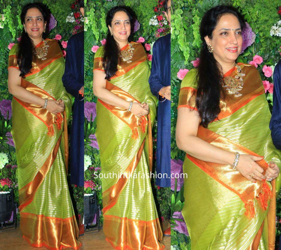 Rashmi Thackeray in green silk saree at armaan jain wedding