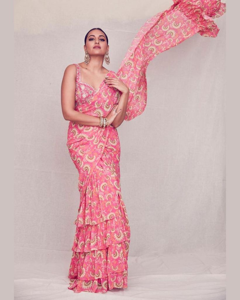 Sonakshi sinha in a ruffled saree