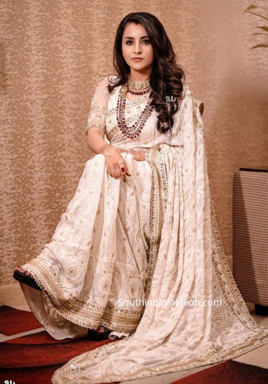 actress bhama reception saree