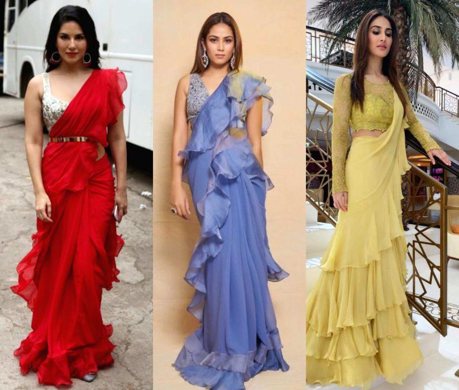 actress in ruffle saree